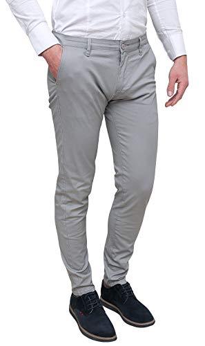 Evoga Pantaloni Uomo Class Primavera Estate Slim Fit Casual in Cotone (48, Grigio Chiaro)