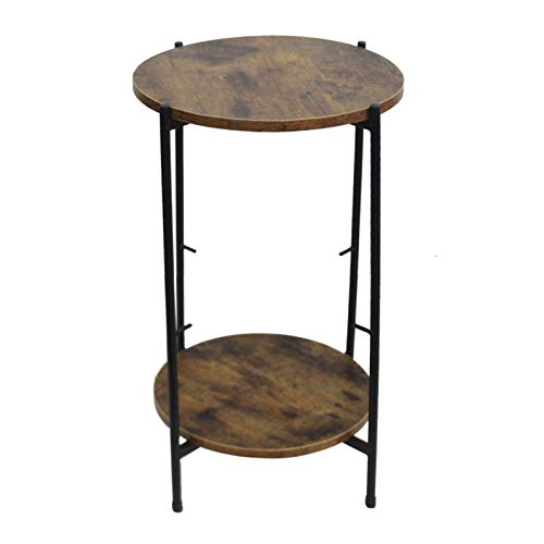 YISHENG-P Wood Color Round Table Top Two Layers with Artificial Leather PVC Waterproof Cloth Newspaper Bag Wrought Iron Side Table P