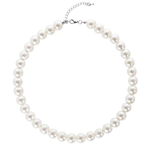 BABEYOND Round Imitation Pearl Choker Necklace Wedding Pearl Necklace for Brides White (Diameter of Pearl 12mm)