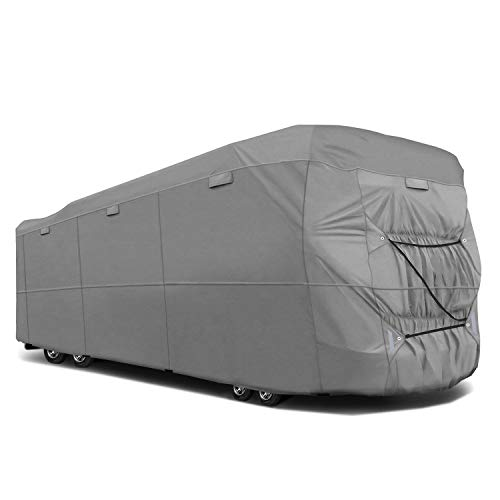 RVMasking Durable 5-ply Top Class A RV Cover, Fits Length 31'1''-34' RVs - Breathable Waterproof Ripstop Anti-UV RV Cover with 15 PCS Windproof Buckles & Adhesive Repair Patch(25.4'&59')