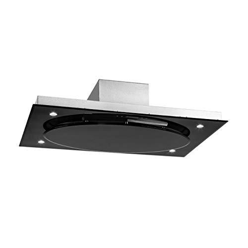 Klarstein Secret Service Black Edition - Hotte aspirante de plafond, 110 cm,800m³/h,3 niveaux,Panneau de commande tactile,Éclairage via 4 LEDs,Timer,4X filtres à graisse, Inox brossé, Noir