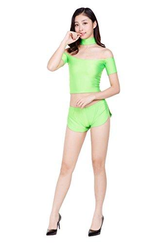 ツルツルニット ゆったりさが可愛すぎる ショートパンツ ホットパンツ レディースMLサイズ, 薄緑