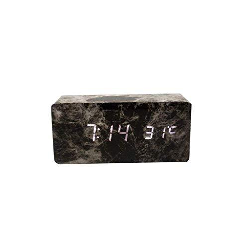 MJ-Alarm Clock Réveil en Bois LED, Horloge de Commande vocale numérique électronique, température de la tête de marbre, Noir et Vert