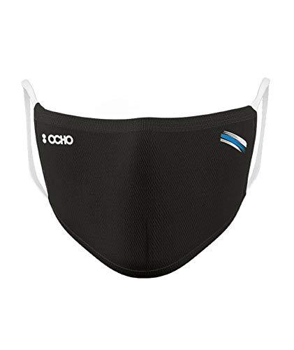 OCHO Hygienische und wiederverwendbare Maske, mit 10 Einweg-Filtern, zertifiziert, 1 Stück, Schwarz S-M
