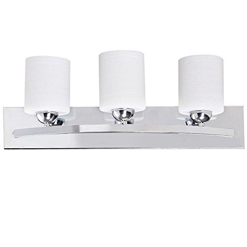 Tangkula Bathroom Vanity Lamp Polished Chrome Lighting Fixture with White Lined Glass Shade Wall Sconce Light Lighting (Chrome, 3)