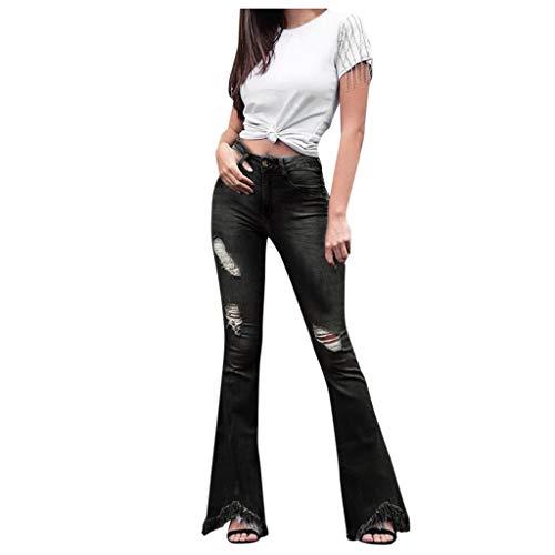 Moonuy Lady Gefälschte Reißverschlüsse Hosen Frauen Weichspüler Hohe Taille Loch Jeans Knopf Quaste Hosen Hosen Bell-Bottom Hosen