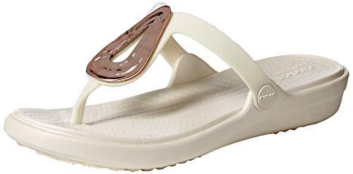 Crocs Damen Sanrah Liquid Metallic Flip W Peeptoe Sandalen, Pink (Rose Gold/Oyster 6pu), 38/39 EU