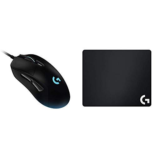 Logitech G403 Hero 16K Gaming-Maus (LightSync RGB, Gewicht von 87 g, 16.000 DPI) + Logitech G240 Gaming Mousepad