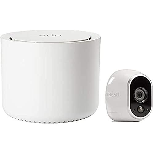 Arlo VMS3130 - Sistema Inteligente de Seguridad y vigilancia con cámaras IP 100% Libres de Cables (1 Unidad, Montaje en Interior y Exterior Resistentes al Agua, no Sumergible), blanco