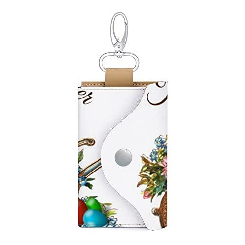 Vintage Happy Easter Schubkarre Retro Urlaub Leder Schlüsseletui Schlüsselanhänger Kartenhalter Geld Brieftasche Etui Etui Etui Etui 6 Schlüssel Organizer Tasche Etui