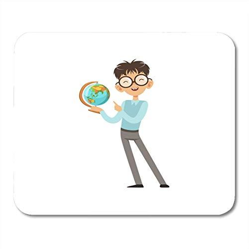 Mauspads Bunte Zeichentrickfigur Von Nerd Boy Mit World Globe In Der Hand Fröhlicher Kid Blue Sweater Und Graue Hose Mouse Pad Für Notebooks, Desktop-Computer Büromaterial
