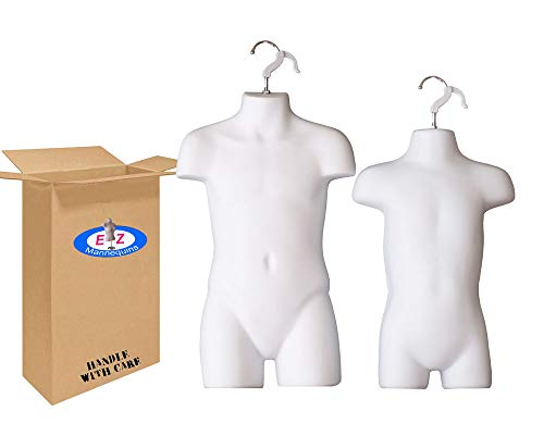 The Competitive Store 8033W 8112W Toddler and Child White Mannequin Forms Set Use with Boys and Girls Clothing 18MO-7 Kid Size