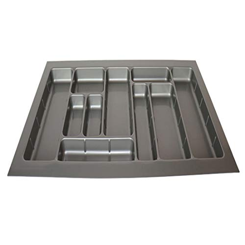 SHOW-WF Bandejas de Cubiertos, Organizador del cajónes con Compartimientos, Soporte para Utensilios de Cocina y Bandeja utensilio, Gris,F