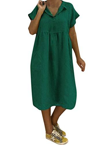 Verano Mujer Vestido De Chaleco con BotóN Redondo con Cuello Redondo Falda Estampada De Ocio Suelto Vestidos Verano Mujer Tallas Grandes Vestidos Verano Mujer 2019 B Verde ES 50