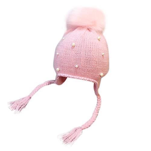 KESYOO chapéu de crochê com pérola decorada para bebês no inverno, gorro de malha quente para bebês e crianças pequenas (rosa)