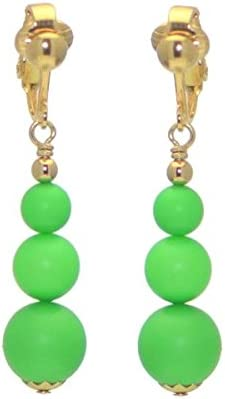 NEON GREEN Gold Plated Clip On Earrings