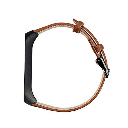 Nicerio Pulseira de relógio de couro compatível com Mi Band 4 para smartwatch, acessórios de substituição, Marrom, 21x2 cm