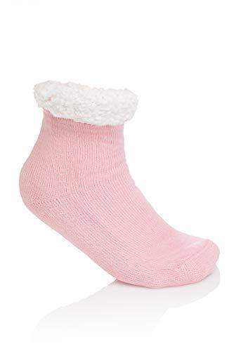 SOFTSAIL Damen Winter-Socken, knöchellang, warm, dick, rutschfest, mit Fell gefüttert, DN1249 Gr. Medium, rose