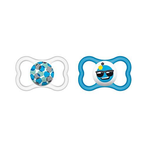 MAM Air Silikon Schnuller im 2er-Set, extra leichtes und luftiges Schilddesign, zahnfreundlicher Baby Schnuller aus speziellem MAM SkinSoft Silikon mit Schnullerbox, 6-16 Monate, blau