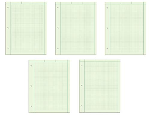 """Ampad Evidence Engineering Pad, 100 Sheets, 5 Squares Per Inch, Green Tint, 11"""" H x 8 1/2 W, Pack Of 5, 500 Sheets Total (22-142)"""