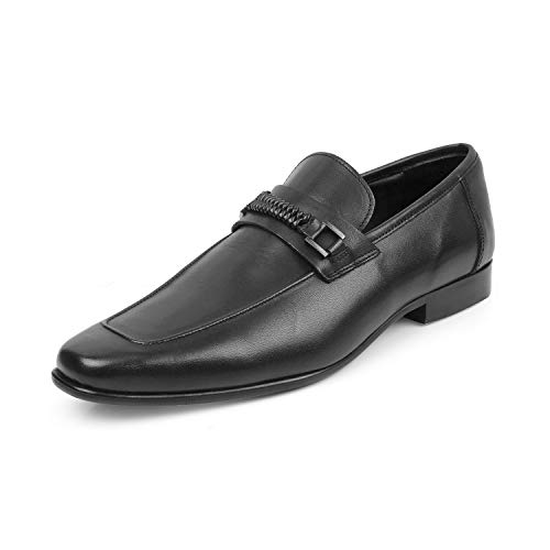 tresmode Men's Black Leather Loafers