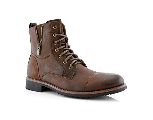 Ferro Aldo Reid MFA808561B Mens Casual Cap Toe Boot Motorcycle Zipper Boots Men