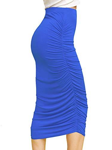 WB1147 Womens Elegant High Waist Pencil Skirt with Side Shirring M Royal_Brite