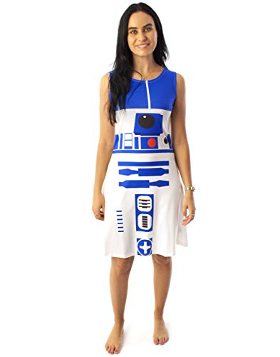 STAR WARS R2D2 Costume Dress Women's Ladies Cosplay Droid White Clothing Small