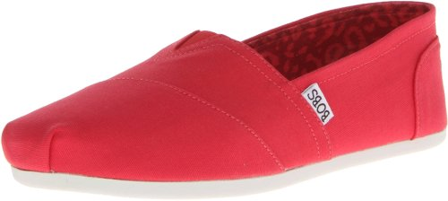 BOBS from Skechers Women's Plush Peace and Love Flat,Red,6.5 M US