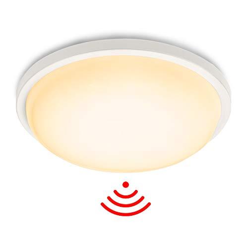 Aufun LED Deckenleuchte mit Bewegungsmelder 15W 1500lm Radar Sensor Deckenlampe, IP44 Wasserfest Leuchte für Flur, Treppe, Veranda, Garage, Carport, Balkon, Abstellraum, Keller, φ22cm Rund
