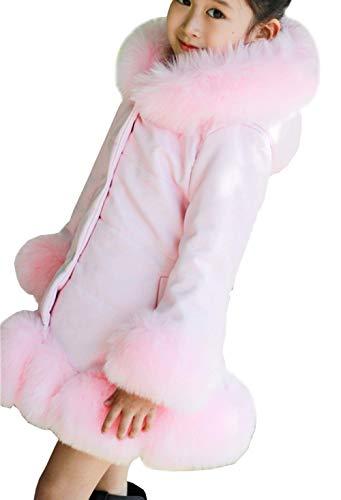 Leeharu Abrigo de Cuero para niña otoño Invierno Abrigo Acolchado de niña Ropa de Piel sintética Rosa Negro