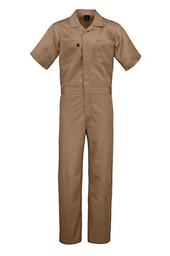 Kolossus Deluxe Short Sleeve Cotton Blend Coverall with Multi Pockets and Antistatic Zipper Khaki
