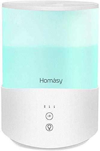 Homasy 2.5L Humidificador Aceites Esenciales, Humidificadores Bebés de 7-Color LED con Modo de Reposo, Humidificador Ultrasónico Silencioso con Niebla Fría, Humidificador Apagado Automático, Blanco