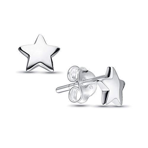 Selfmade Jewelry ster oorstekers van 925 zilver mini sterretjes oorbellen 6 x 6 mm voor dames vrouwen meisjes incl. roze sieradendoos