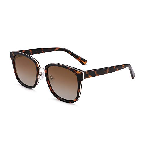 GLINDAR Gafas de sol polarizadas para mujer, lentes cuadradas vintage, protección UV (tortuga/marrón degradado)