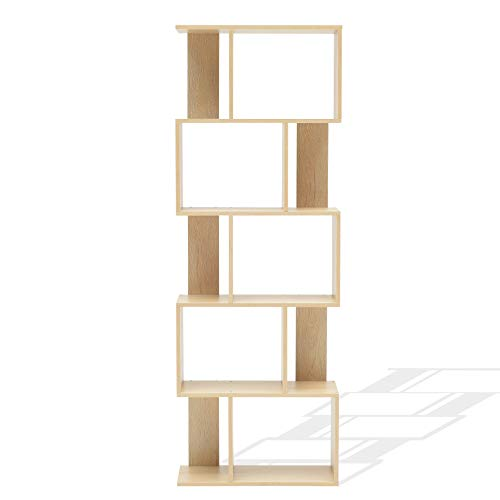 Rebecca Mobili Scaffale Moderno, Libreria di Legno, 5 Ripiani, in Stile Moderno, Beige, Arredamento Soggiorno Casa Ufficio - Misure: 169 x 60 x 24 cm (HxLxP) - Art. RE4788