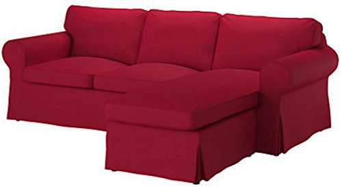 The Dense Cotton Ektorp Loveseat (2 Seater) with Chaise Lounge Cover Replacement is Custom Made Compatible for IKEA Ektorp Two Seat Chaise Sofa Slipcover (Dark Red)