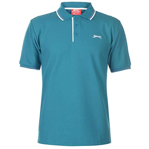 Slazenger Tipped Herren Polo Poloshirt T Shirt Kurzarm Classic Fit Tee Petrol Blau XXXXL