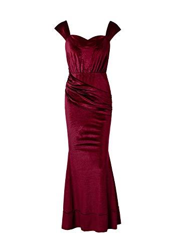 Women's Elegant Short Sleeve Sweetheart Neckline Off Shoulder Long Velvet Mermaid Party Dress Wine Red
