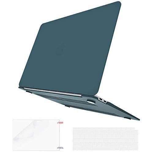 Belk Custodia Compatibile con MacBook Air 13 Pollici 2020 2019 2018 con Retina Display & Touch ID A2337 M1 A2179 A1932, Opaco Rigida Case & Copertura della Tastiera & Pellicola Protettiva, Verde