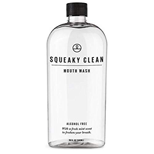 Squeaky Clean Alcohol Free Mouthwash 16 Ounce. Fresh Breath Oral Mouth Rinse. Cool Minty Flavor. Treats Bad Breath.