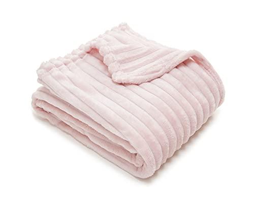 Wolkenwohl Tagesdecke / Kuscheldecke Rosa, 160x220cm, perfekt als Bettüberwurf oder Wohndecke