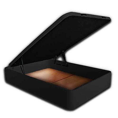 Ventadecolchones - Canapé Abatible Serena Gran Capacidad Tapizado en Polipiel Negro Medidas 150 x 190 cm en Tejido 3D