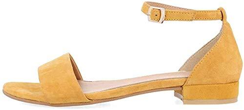 Sandalias amarillas planas con punta abierta para mujer
