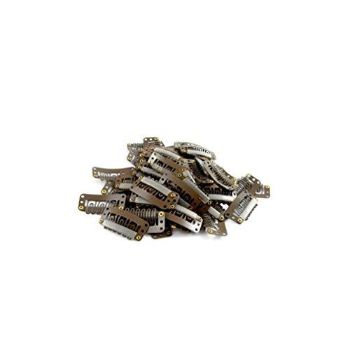 20pcs 6 Dents En Forme De U Snap Peigne En Métal Snap Clip Clip Perruque Clip Clip Perruque Caoutchouc Extension De Cheveux Trame Clip-Perruque Bricolage Salon 32mm