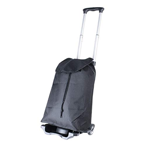Conveniente y duradero Trolley de aleación de aluminio Trailer Plegable a mano Compras y tiendas de comestibles Carrito de equipaje con bolsa de tela negra Artículos para el hogar portátiles carrito d