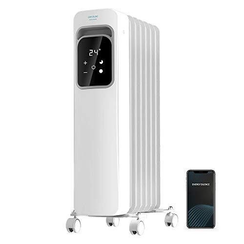 Cecotec Radiador Eléctrico de Aceite Ready Warm 7000 Touch Connected Bajo Consumo, 7 Elementos, 1500 W, Control por App, 3 Modos de funcionamiento, Pantalla LCD, Táctil, Temporizador, Ruedas, 15 m2
