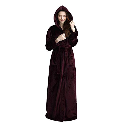 Luxurious Long Hooded Robe for Women Fleece Full Length Bathrobe with Hood Winter Warm Loungewear Housecoat Sleepwear Wine Red