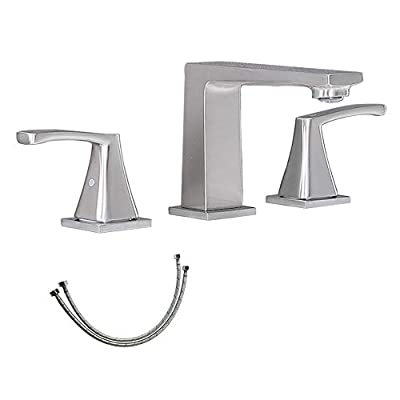 Modern 2 Handle 3 Hole Brushed Nickel Bathroom Faucet, Widespread Vanity Lavatory Lead-Free Bathroom Sink Faucet with Pop-up Drain & Faucet Supply Lines, DC17814L