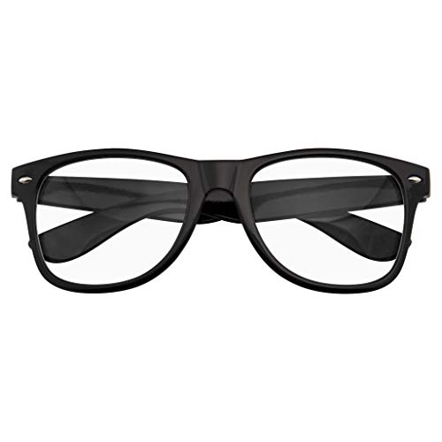 Emblem Eyewear - Nerd Black Horned Rim Glasses Glossy Clear Lens